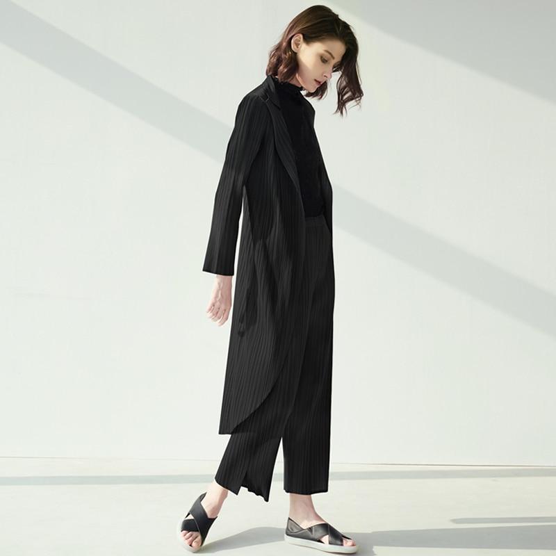 2020 осень и зима новый женский Простой повседневный комплект женские Miyake костюм со складками куртка и брюки; Комплект из двух предметов|Брючные костюмы| | АлиЭкспресс