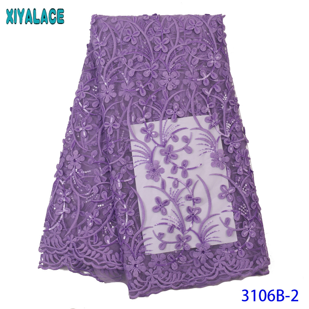French African Lace Fabric Sequined Tulle Lace High Quality Nigerian Mesh Lace With Sequence For Wedding Dress KS3106B