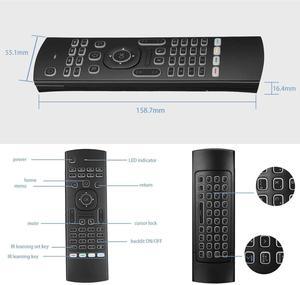 Image 4 - MX3 arkadan aydınlatmalı klavye uzaktan kumanda Air Fly fare 2.4G kablosuz Mini klavye 81 tuşları IR öğrenme Android TV kutusu