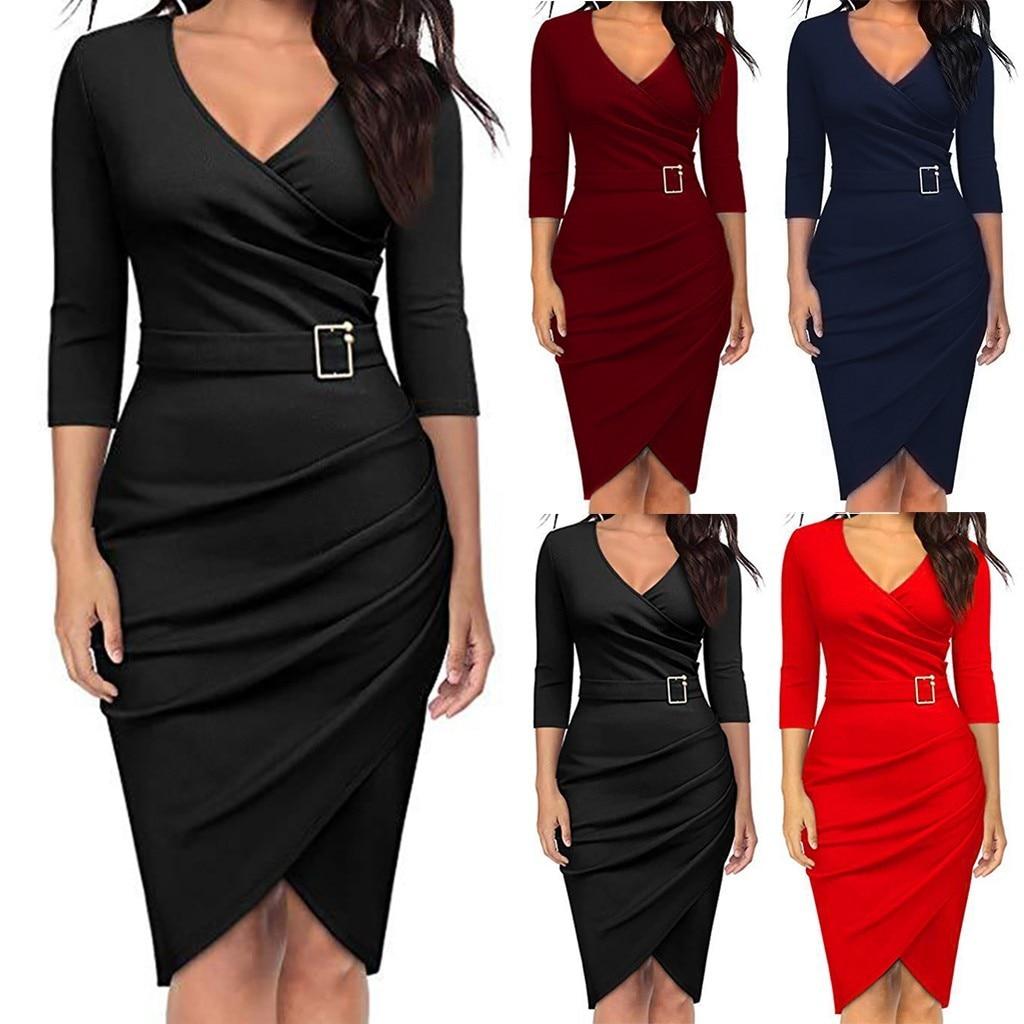 GRACE KARIN Women 3//4 Sleeve Irregular Hem Work Office Ruched Pencil Dress with Button