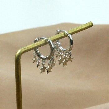 925 Sterling Silver Tassel Star Stud Earrings For Women Wedding Jewelry Female Pendientes Mujer Moda Aretes De Mujer Eh028