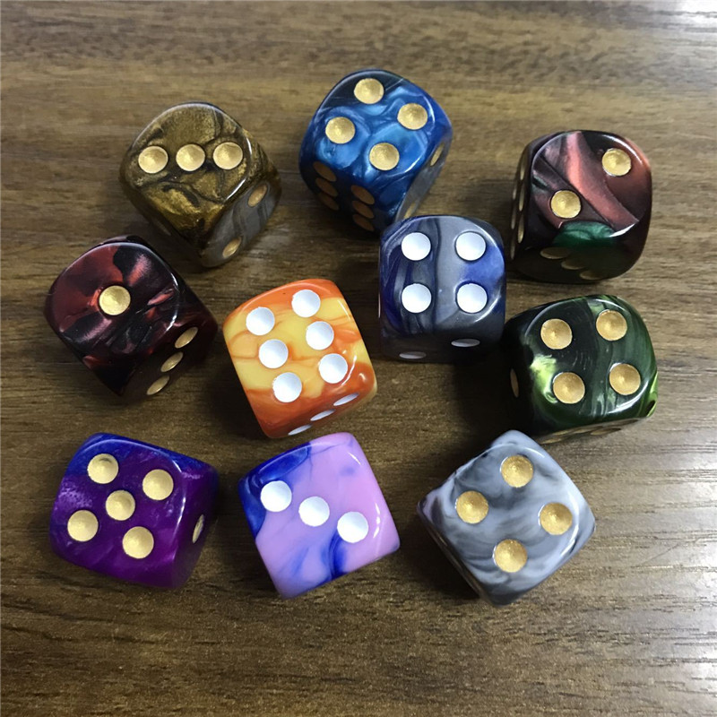 10pcs/set Dice Round Corner Pearl Gem 6 Sided 16mm Dice Playing Table Board Bar Games Party Funny Tools Entertainment Supplies