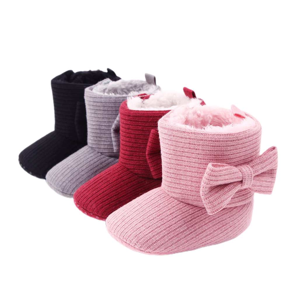 2020 New Winter Infant Baby Girls Lovely Bowknot Snow Boots Black/Gray/Pink/Red Plush Fur Warm Cozy Booties 0-18M(China)