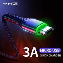 YKZ 3A LED Micro USBสายชาร์จMicrousbสายสำหรับSamsung Huawei Xiaomi Androidโทรศัพท์มือถือโทรศัพท์