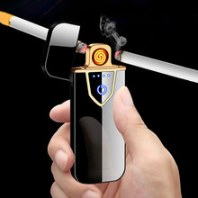 цена на Metal Flameless Electric Lighters Charging Lighter Touch Induction Windproof  Ultra-thin USB Cigarette Lighter  Men Gift