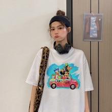 Disney malerei Minnie Maus Freunde Print T Shirt Sommer Frauen Kurzarm Freizeit Top T-stck Beilufige Damen Weibliche T shirts