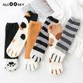 6 пар/упак. зимняя теплая обувь с принтом «кошачий коготь» носки для женщин и девочек Спальные Носки-тапочки для дома с толстыми носками
