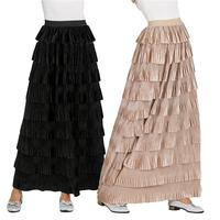 Muslim Women Velvet Stretch Layered Skirt High Waist Pleated Islamic Maxi Skirts 2019 Autumn A line Arab Casual Skirts Bottoms