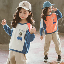Girls Sweatshirts Child Spring Autumn Long Sleeves Patchwork Kids T-shirt Clothes Beige Orange Color 4-13 Years Old