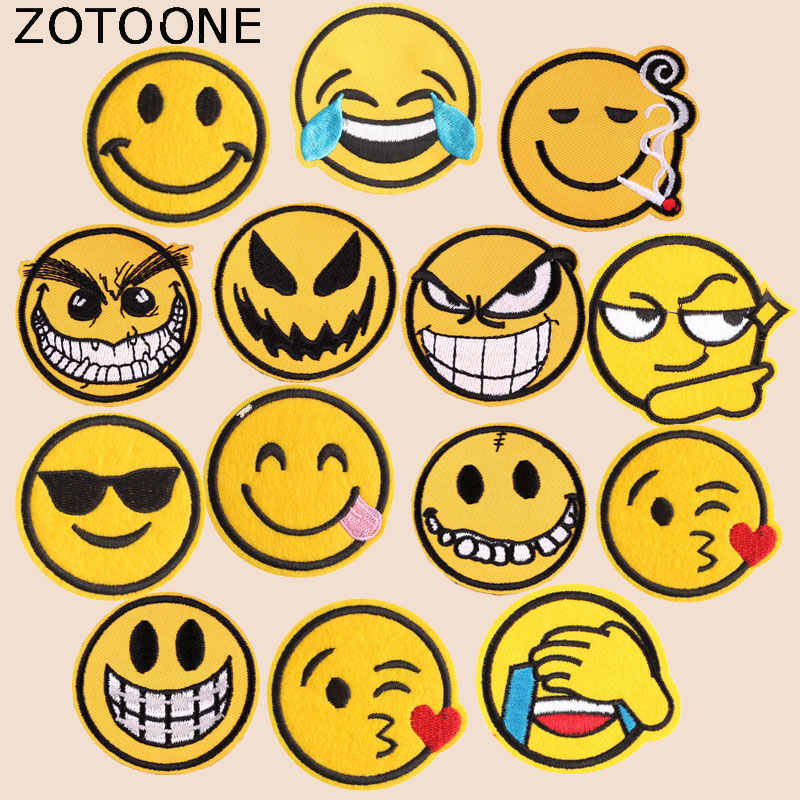 ZOTOONE Gezicht Patch Badge Leuke Stickers voor Kids Iron on Patches voor Kleding Warmteoverdracht Diy Accessoire Applicaties G
