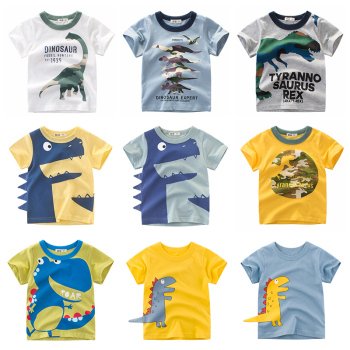 T Shirt Dinosaur Boys Girls Kids Children Tops Cotton Clothing Print Short Sleeves Summer Clothes Cartoon Toddler Tee for 2-8 Y children t shirt long sleeves kids boys girls cotton tops baby dinosaur print cartoon clothing tee 2 8 years clothes full
