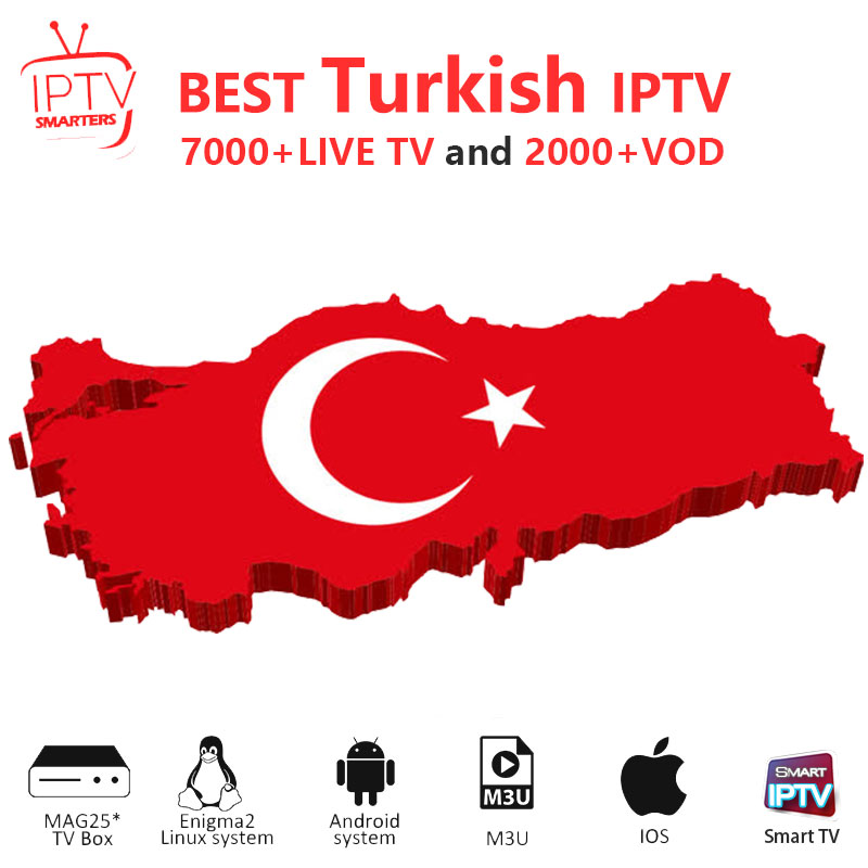 Turkish Iptv Subscription IPTV M3U IPTV 7000+ Live HD Channels For M3u Mag Box Smart Tv  Iptv  M3U Code Sports Adults Free Test