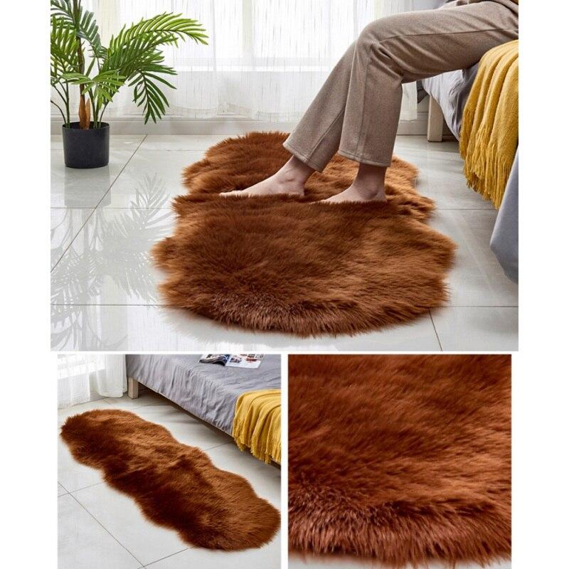 HWFaux fourrure zone tapis Style nordique longue peluche tapis Shaggy tapis pour salon chambre canapé sol 60X180 CM