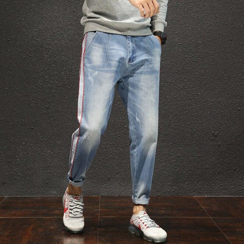 2018 Spring And Autumn New Style Men Capri Jeans Fashion Korean-style Slim Fit Pants 9 Points Casual Harem MEN'S Trousers