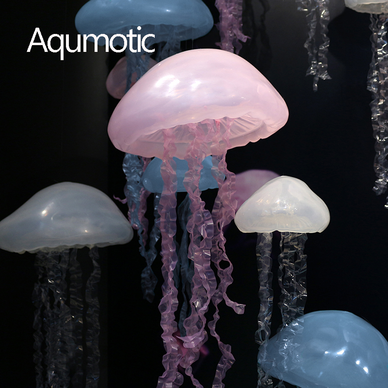 Aqumotic The Hanging Jellyfish Decorations Silica Gel 3d Jellyfish Art Large Pendant Ornament Prop Ocean Theme For Party