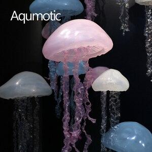 Aqumotic wiszące Jellyfish dekoracje żel krzemionkowy 3d meduzy sztuka duży wisiorek ozdoba Prop motyw oceanu na imprezę