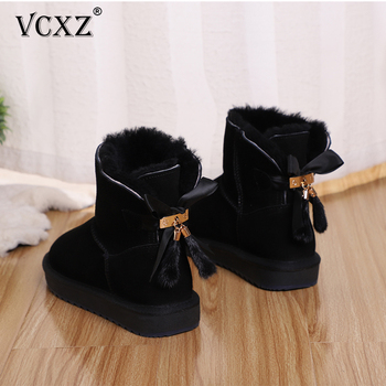 VCXZ The new high quality women winter warm boots Cowhide leather wool fur lined and bowknots tassels fashion girls snow boots aiyuqi genuine leather female winter boots full cowhide waterproof wool lined fashion women booties female bare black boots