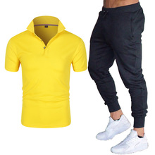 New Men s Solid Color Plus Size Sportswear Summer Two Piece Fashion Casual Polo Collar Top   Trousers Two Piece Suit S 3XL