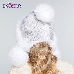 Image 5 - ENJOYFUR Inverno chapéus de pele de vison real para as mulheres de pele de raposa pompom ouvido proteger as tampas quentes forrado de pele de malha gorros moda chapéu Russian