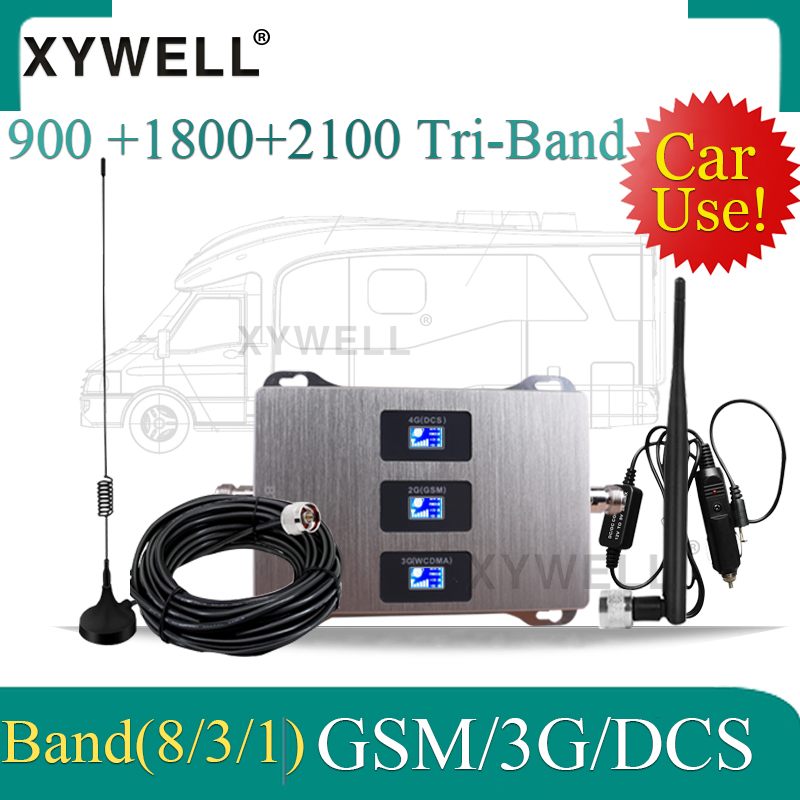 Car Use 900/1800/2100 Tri-Band Cellular Amplifier 2G 3G 4G Signal Booster GSM 900 WCDMA 2100 LTE 1800 Cellphone Repeater In Car