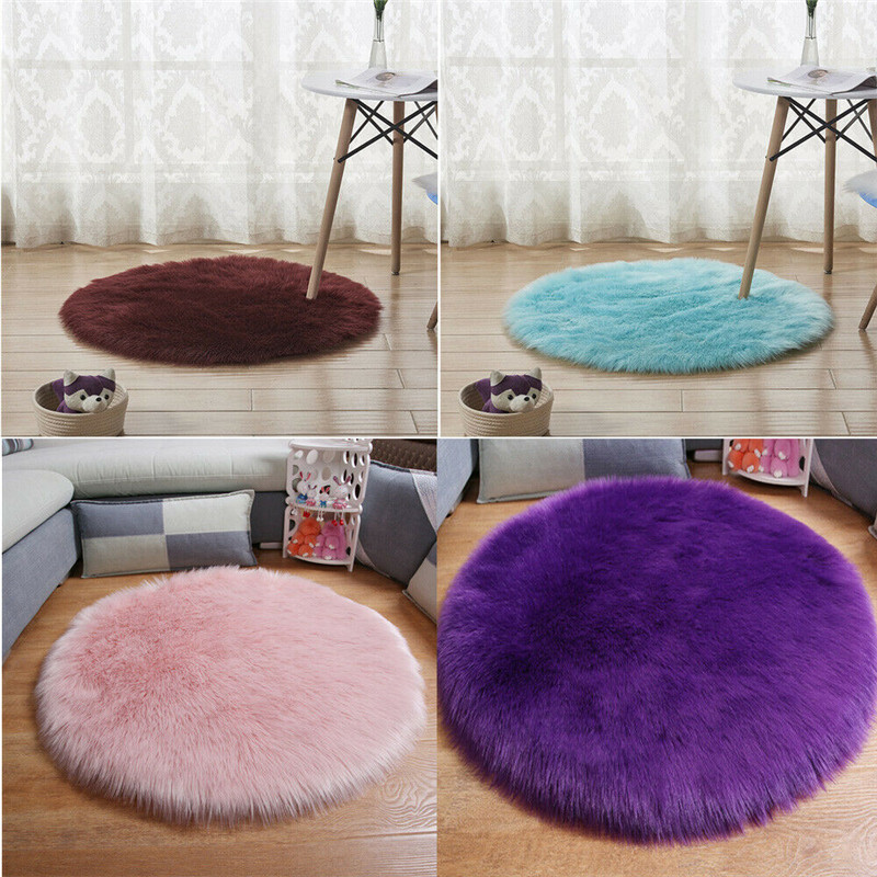 Fluffy Shaggy Bedroom Rug Chair Cover Round Plush Artificial Wool Rugs Anti-Skid Carpet Pad Floor Mat Home Textile