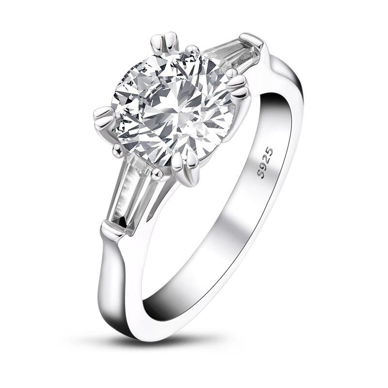 AINOUSHI classique 925 solide en argent Sterling 2 carats taille ronde 3 bague en pierre pour les femmes de mariage bague de fiançailles - 2
