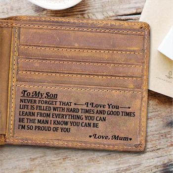 TO MY SON Customized Men Wallets Vintage Cow Genuine Leather Wallet Engraved Personalized Gifts for Son from Mom and Dad Purse