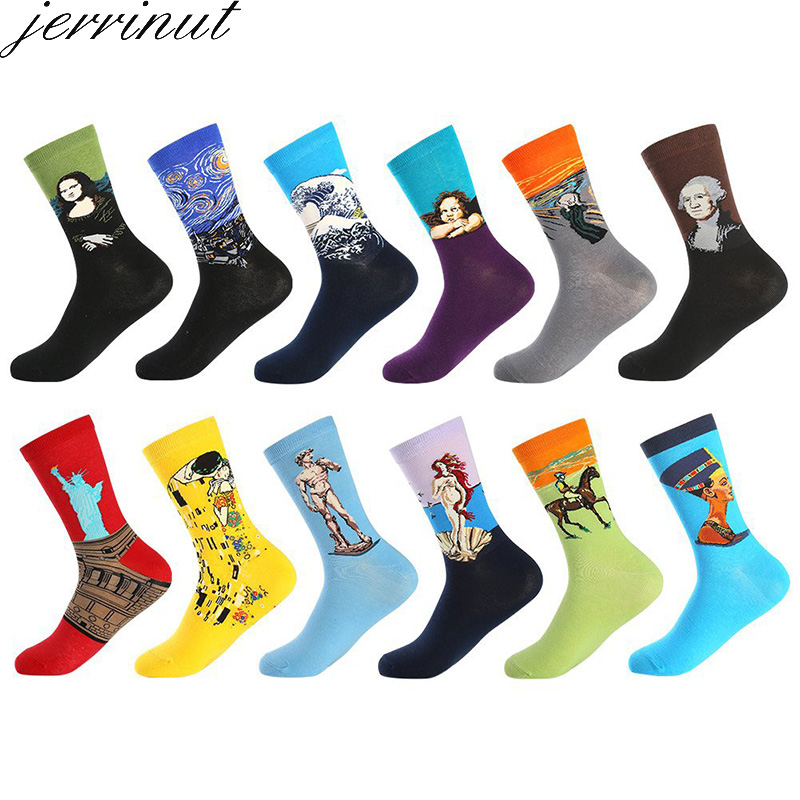 Men's Cotton Funny Socks With Print Art Women Happy Socks Warm Winter Cute Van Gogh Socks Fashion Casual Sweat Breathable 1 Pair