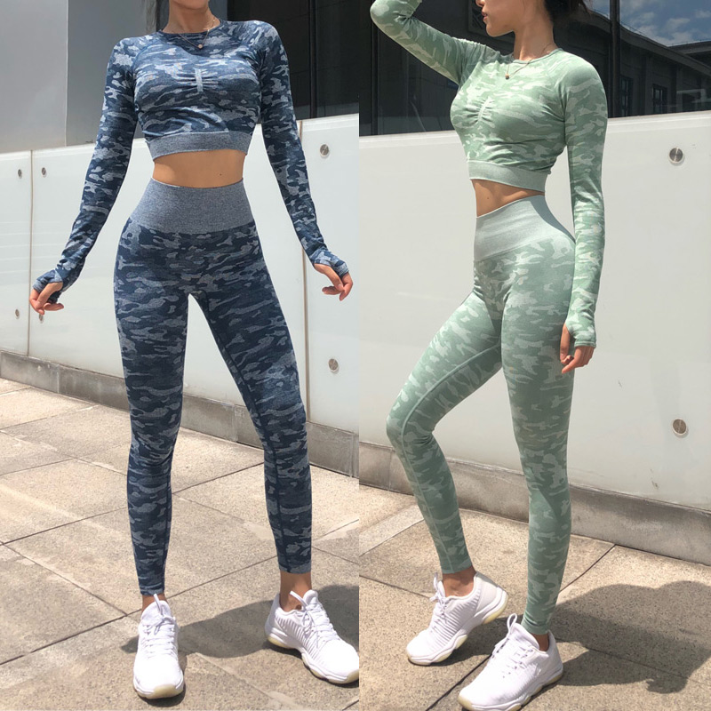 HOT 2019 Women Skinny Yoga Sets Camouflage High Waist GYM Leggings Sport Bra Yoga Bra Fitness Running Pants Workout Tracksuit