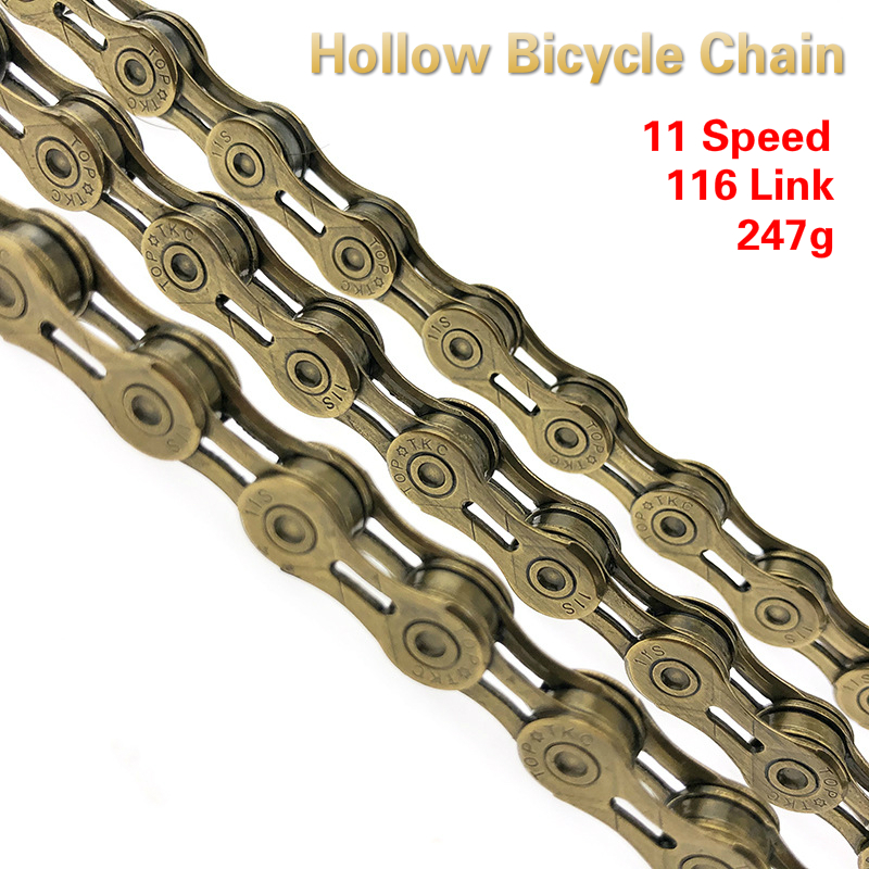 VG Sports 11S 116Link Bicycle Chain Half-Hollow MTB Road Bike Chain Sliver//Gold