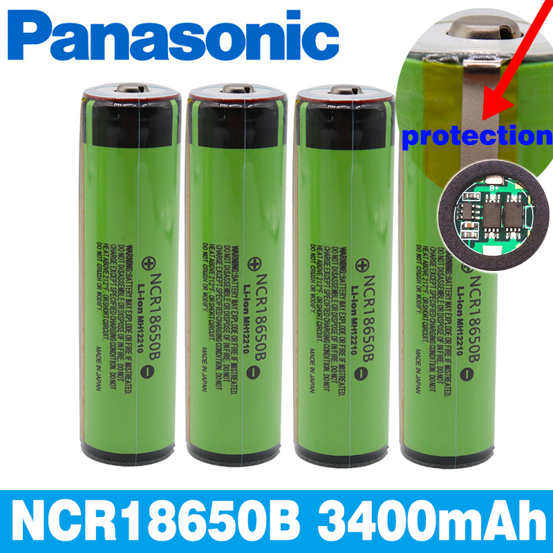 Panasonic 100%Original Protected 18650 NCR18650B Rechargeable Li-ion Battery 3.7V With PCB 3400mAh For Flashlight Batteries Use