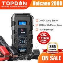 Topdon v2000 carro saltar starte 20800mah 12v 2000a pico de emergência portátil carregador sem fio power bank booster start dispositivo