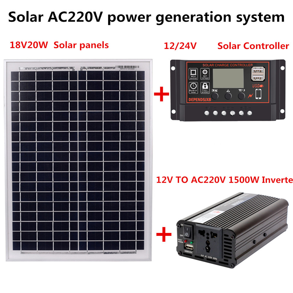 AC220V 1500W Solar Power Generation System - 18V20W Solar Panel+Solar Controller+Inverter Kit