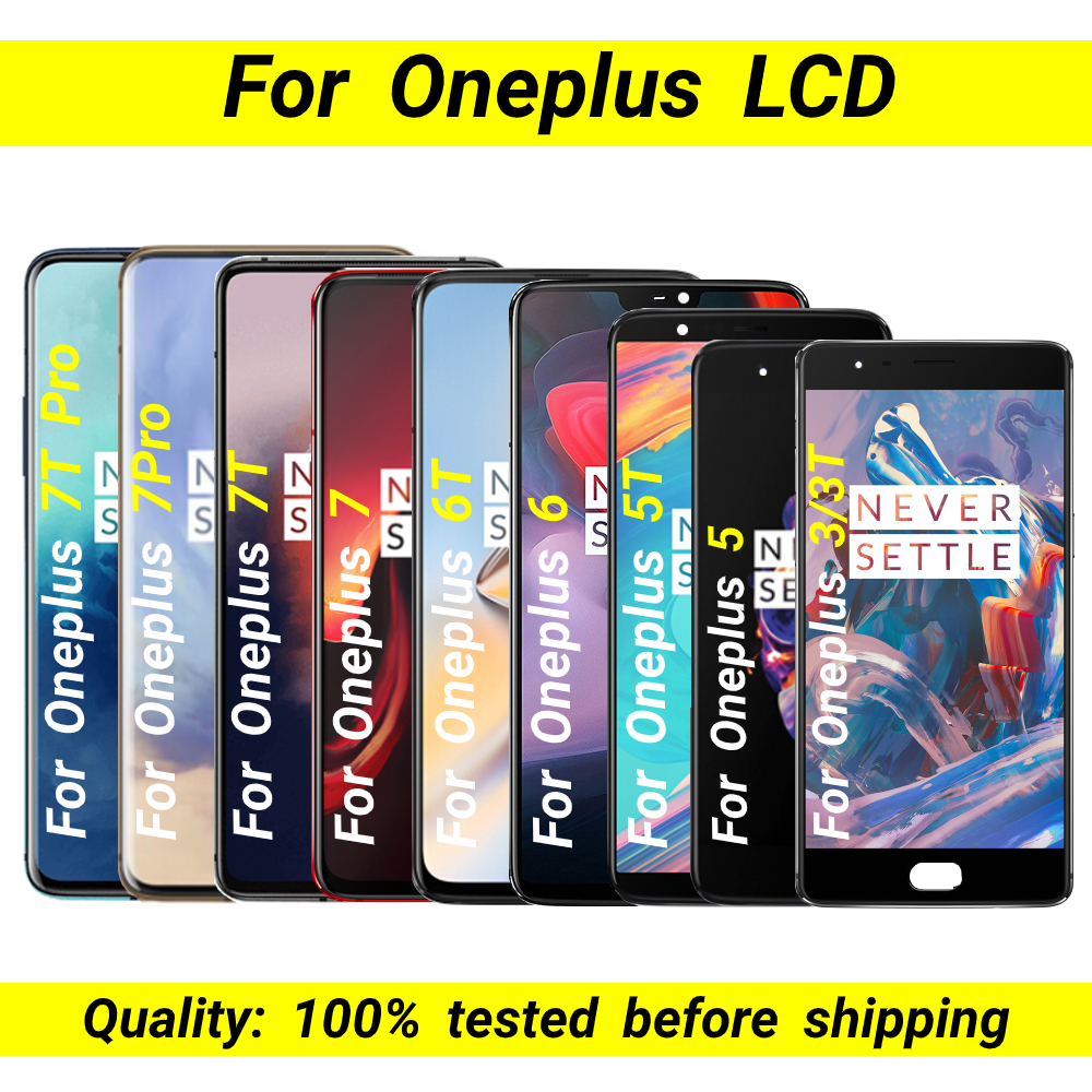 Original AMOLED For Oneplus 3 LCD 3T 5 5T 6 6T 7 7T 7pro 7T pro LCD Display Touch Digitizer Assembly For oneplus6T 7T display