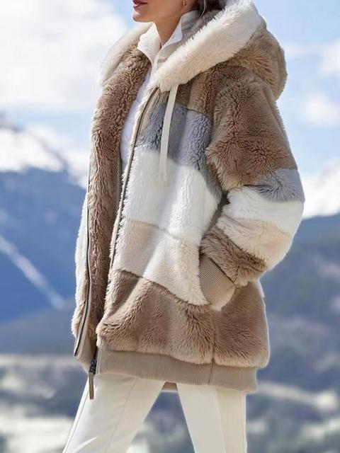 2020 Winter Women's Coat Fashion Casual Stitching Plaid Ladies Clothes Hooded Zipper Ladies Coat Lamb Hair women jacket 3