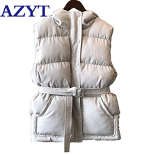 Women Vest Coat Sleeveless Jacket AZYT Winter Hooded Down Thicken Casual Cotton Warm