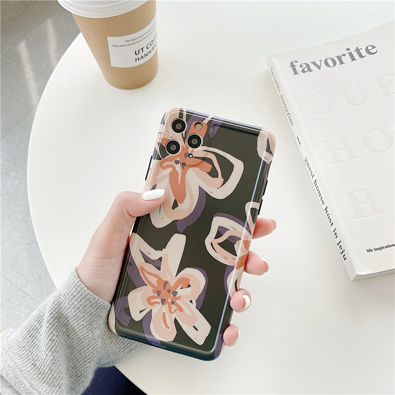Retro Vintage Flower Phone Case for iPhone XS Max XR X 7 8 Plus Cover for iPhone 11 Pro Max Cute Soft Case Silicone Glossy Funda(China)