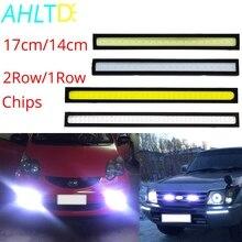 1 шт. Автомобильные светодиодные DRL 17 см/14 см 2 ряда/1 ряд Led COB водительские Противотуманные фары двойные дневные ходовые огни авто водонепроницаемые обновленные яркие лампы