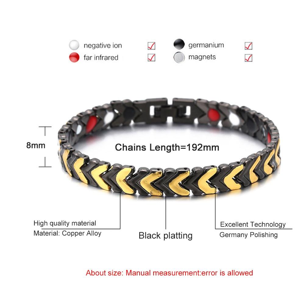 Fashion Healing Magnet Bracelet For Women Men Copper Health Care Magnetic Germanium Energy Power Bracelet Jewelry Pakistan