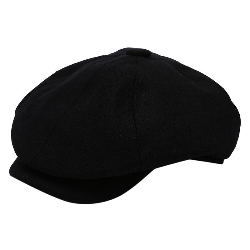 Мужская саржевая хлопковая кепка шестиклинка кепка газетчика женская шапка для мальчика s ретро большие шапки мужской чёрный берет - Цвет: black