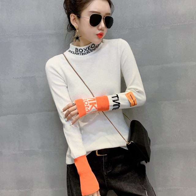 #3828 White Black Harajuku Woman Sweater Pullovers Long Sleeve Letter Tight Sweater Turtleneck Thin Knitted Tops Spring Autumn 3