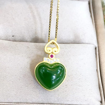 Jadery Natural Green Jade Jasper Heart Pendants Necklaces 925 Sterling Silver Ruby Statement Necklace For Women Fine Jewelry