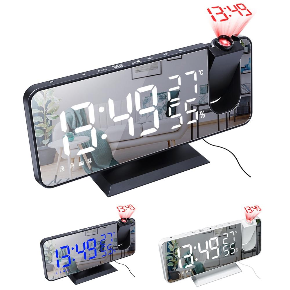 Digitale Projectie Wekker Usb Fm Radio Dimmer Timer Backlight Led Projector Wake Up Klok Met Temperatuur Thermometer