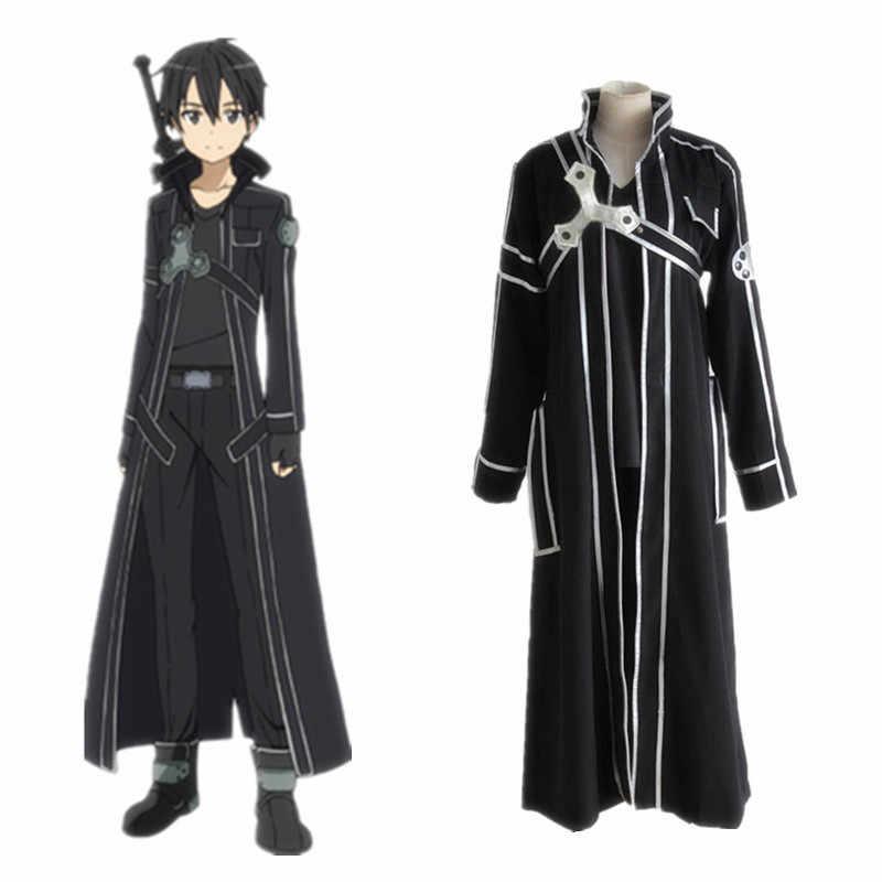 ดาบศิลปะออนไลน์ Kirito COS เสื้อผ้า Kirigaya Kazuto คอสเพลย์อะนิเมะญี่ปุ่นเสื้อผ้าที่กำหนดเอง