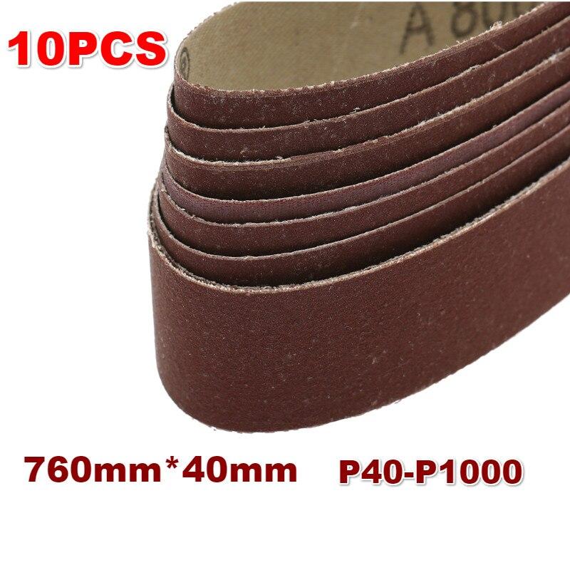 10Pcs 40x760mm Abrasive Sanding Belts P40-1000 Coarse To Fine Grinding Belt For Wood Soft Metal Grinding Polishing