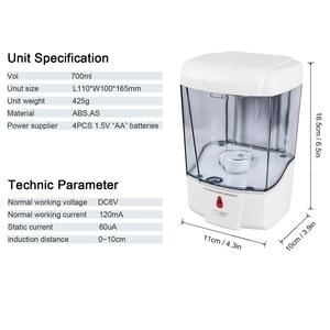 Image 5 - Настенный Бесконтактный пластиковый автоматический датчик дозатора жидкого мыла для ванной, кухни, большой емкости 600 мл/700 мл