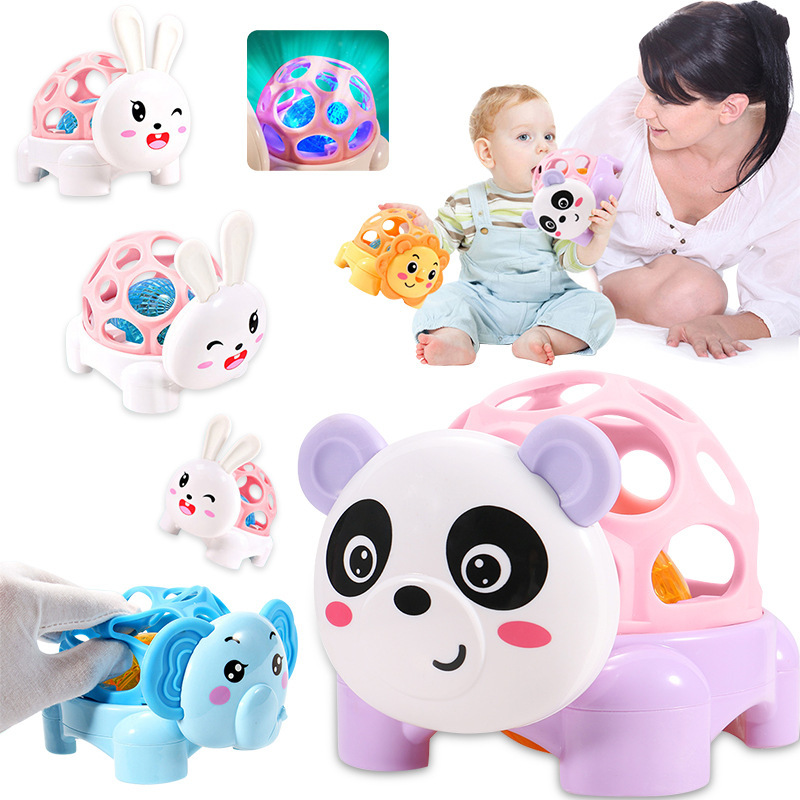 Dou Le Sound And Light Cartoon Animal Soft Silcone Grasping Fitness Ball Infant Educational Toys Currently Available Wholesale