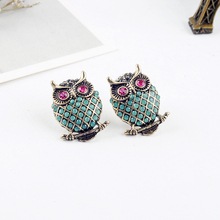 Vintage Gold Color Exquisite Crystal Vivid Owl Cute Animal Stud Earrings For Wom