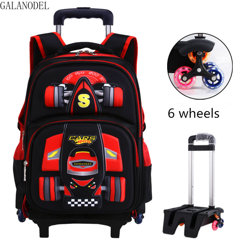 Children School Bags with Wheels Rolling Backpacks Kids Trolley Luggage Backpack Removable for Teenage Boys.