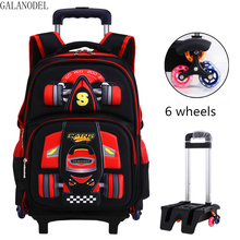 цены Children School Bags with Wheels Rolling Backpacks Kids Trolley Bags Luggage Backpack Removable for Teenage Boys.